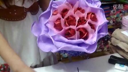 折纸玫瑰花束,鲜花包装