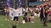 2015 ultra music festival韩国站。韩国肌肉帅哥兴奋自我陶醉